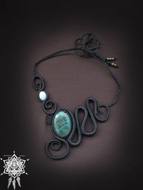 Spiral macrame necklace with chrysocolla and rainbow moonstone. Goddess jewelry. Shamanic jewelry. Micromacrame. ethnic jewelry.