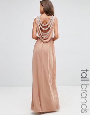 TFNC Tall Wedding Embellished Drape Back Maxi Dress