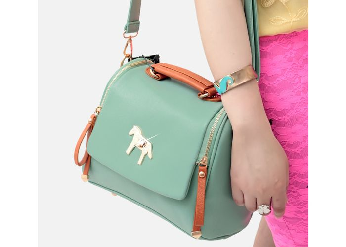 Cheap Casual Women's Crossbody Bag With Metal Little Horse and Color Block Design (BLUE), Crossbody Bags - Rosewholesale.com