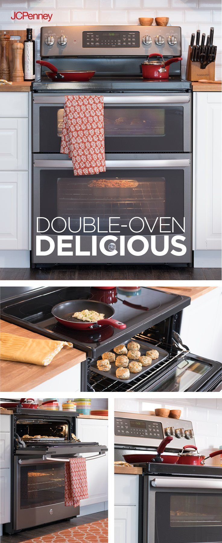 New year, new shiny  appliances! Time to get your kitchen cooking with gas. Make quick work of Sunday dinner with a sleek new GE® free-standing gas range with double ovens. The edge-to-edge cooktop and dual purpose center burner mean even your biggest dishes are no match for this oven. Additionally, if you find a lower currently advertised price on an identical range within 14 days after purchase from a competitor, JCPenney will beat that price by 5%.