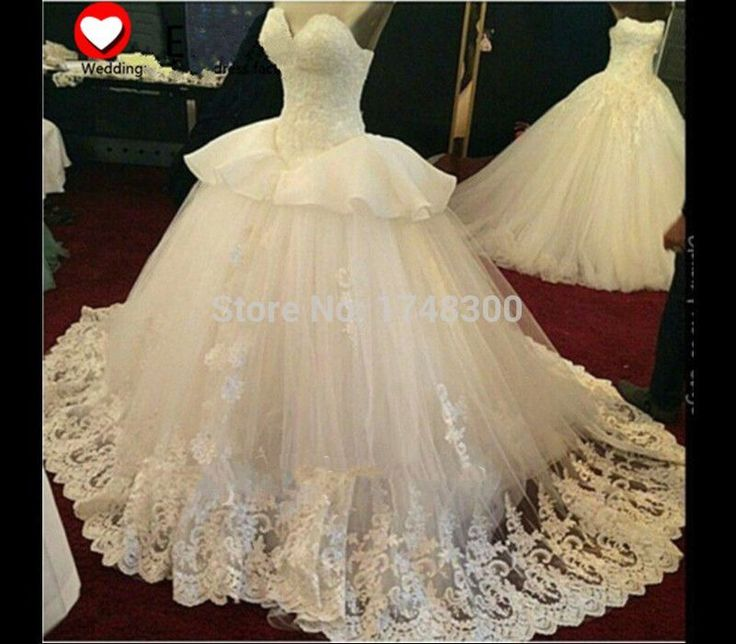 ==> [Free Shipping] Buy Best 2016 Hot Sale Luxurious Ball Gown Lace Wedding Dress Real Image Appliques Peplum Ruffles Bridal Dress Gown Vestido de Casamento Online with LOWEST Price | 32592048353