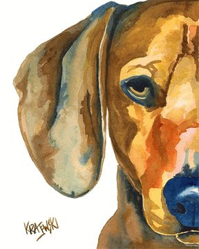 Dachshund Art Print of Original Watercolor by Ron Krajewski