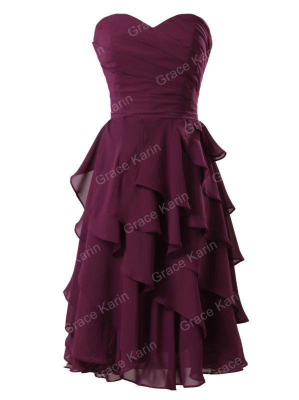 A-Line cariño hasta la rodilla gasa corto formal Dama De Honor Fiesta Baile de graduación Vestido