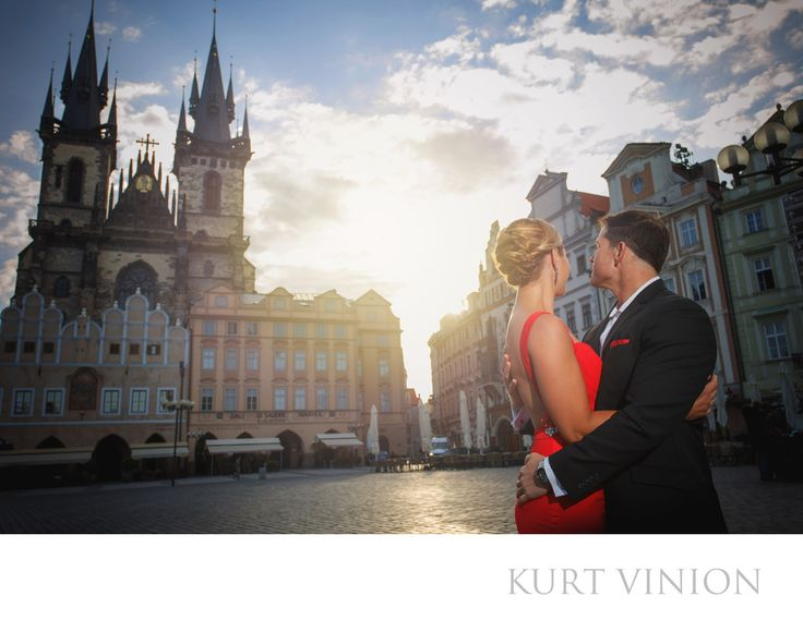 London wedding & Prague pre wedding photographer - a sunrise over Tyn Church Prague / Engagement portraits: L&G watch the sunrise over Tyn Church after their morning wedding proposal . Keywords: Prague Engagement Photography (24).