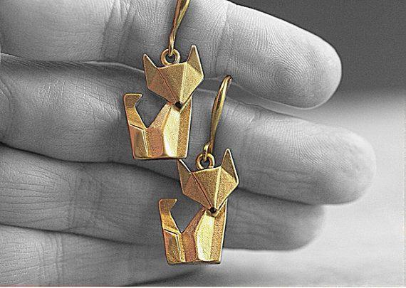 NEU: Origami Fuchs Ohrringe handvergoldet