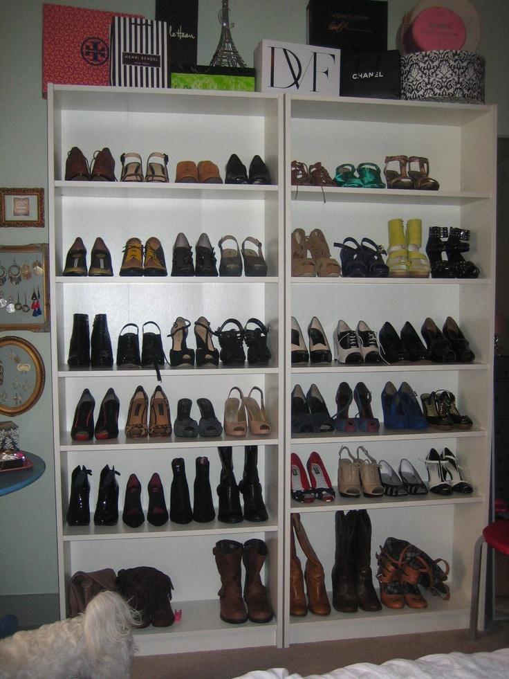 my shoe shelves aka cheap bookshelves from ikea inspired by