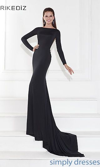 Long Sleeve Formal Gown with a Sheer Back by Tarik Ediz at SimplyDresses.com