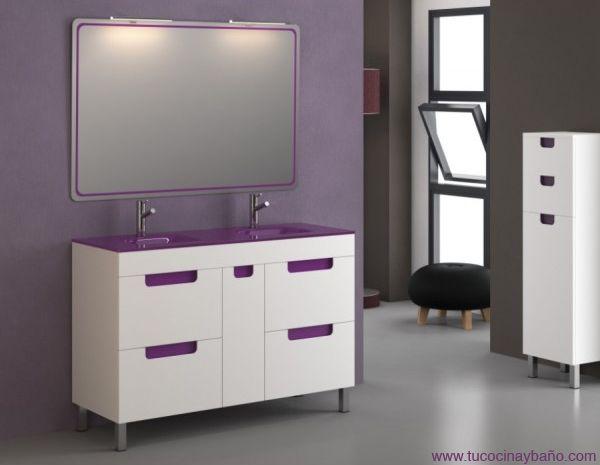 Mueble con 2 lavabos de cristal color berenjena muebles - Muebles de bano con lavabo de cristal ...