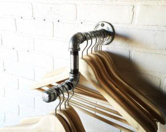 Industrial Clothing Rack and Double Shelf by CoronaConceptsCo