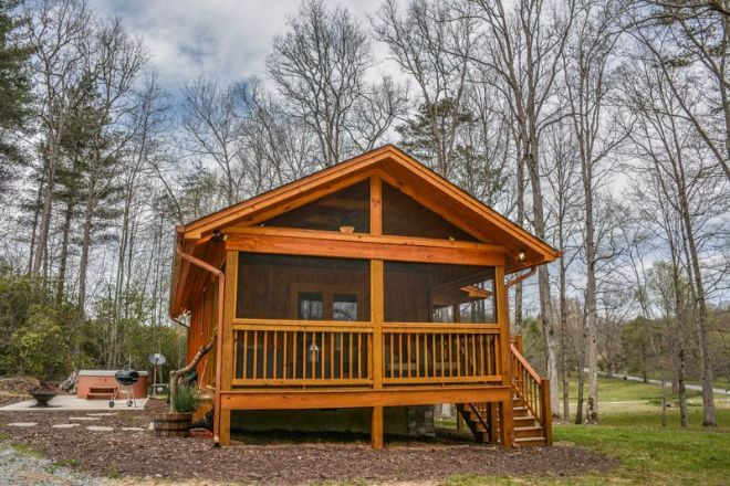 """One of the biggest questions that tiny home owners get is """"do you ever miss living in a larger home?"""" There's a very easy answer to that, """"Why would we?""""   If a tiny home has everything you need."""