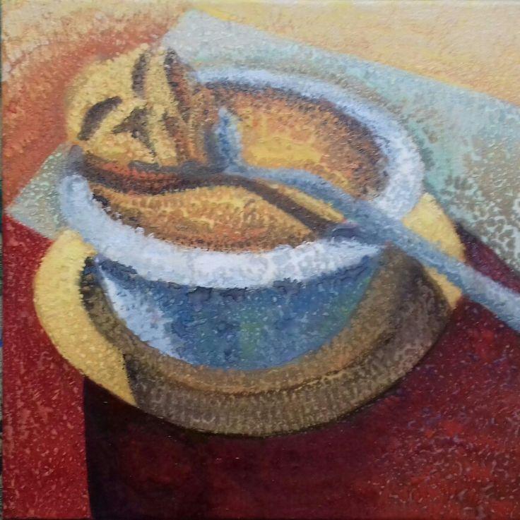 Harka Ágnes: Creme brulee 40x40 cm mixed media