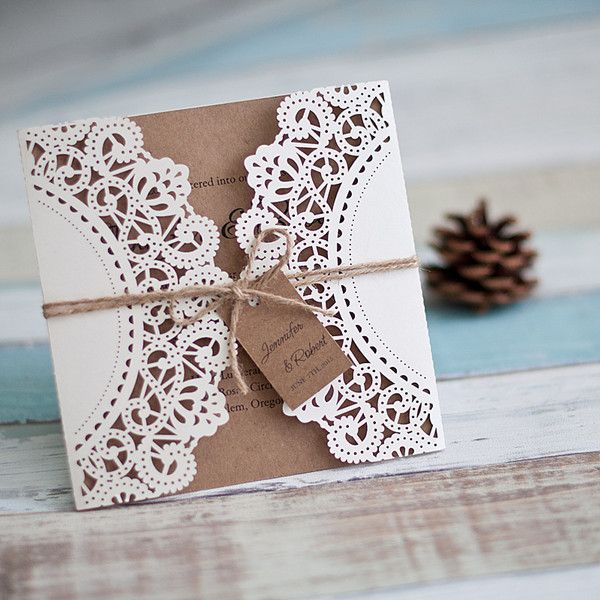 affordable rustic laser cut wedding invitation with tag EWWS040 as low as $1.99 |