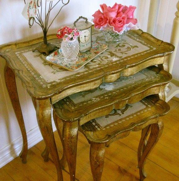 Antique Italian Florentine Nesting Tables Set Painted