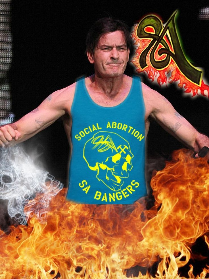 Charley sheen photo shopped into SA tank top