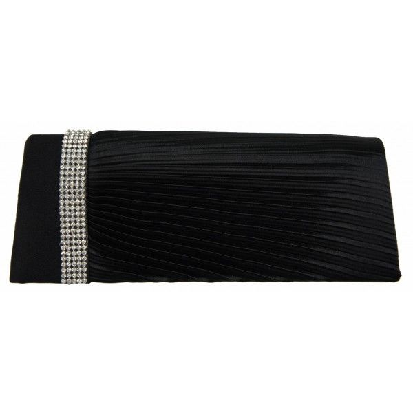 Black Satin Diamante Evening Clutch Bag