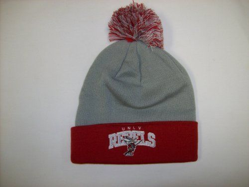 UNLV Runnin' Rebels Mitchell and Ness Cuffed Knit Hat Beanie with Pom by Mitchell & Ness. $19.50. Officially licensed. Premium knit cap. Cotton yarn embroidered team logo. 100% acrylic. Manufactured by Mitchell and Ness. Keep warm while cheering on the Runnin' Rebs in this classic vintage knit hat from Mitchell and Ness!