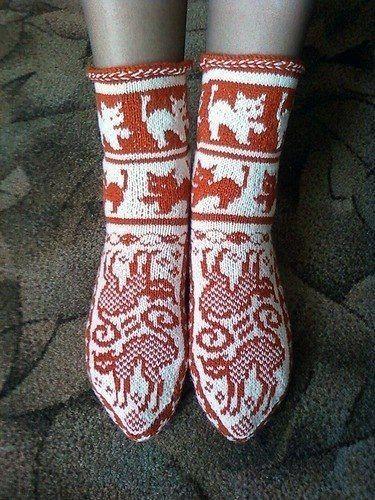 Жаккардовые носочки «Кошки» (Вязание спицами) | Журнал Вдохновение Рукодельницы