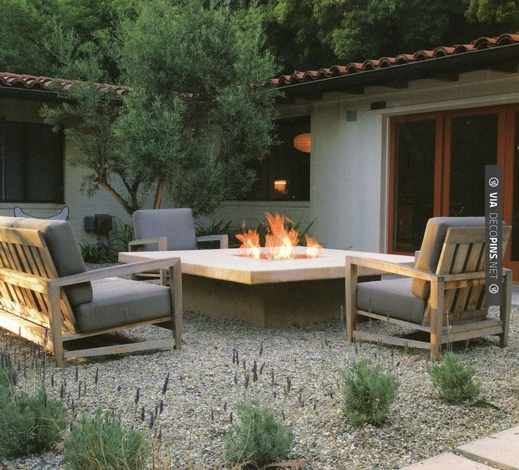 68 best gravel patios images on pinterest backyard ideas for Fireplace on raised deck