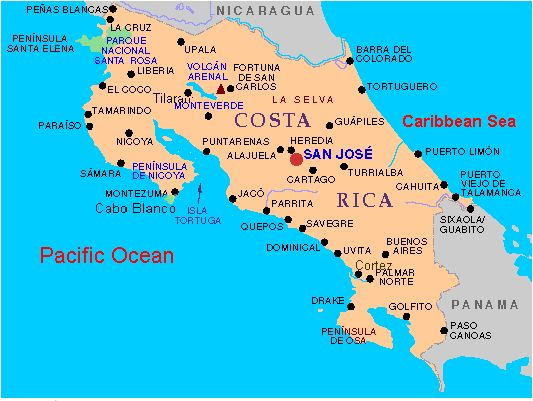 Costa Rica City Map MAP - County map of costa rica