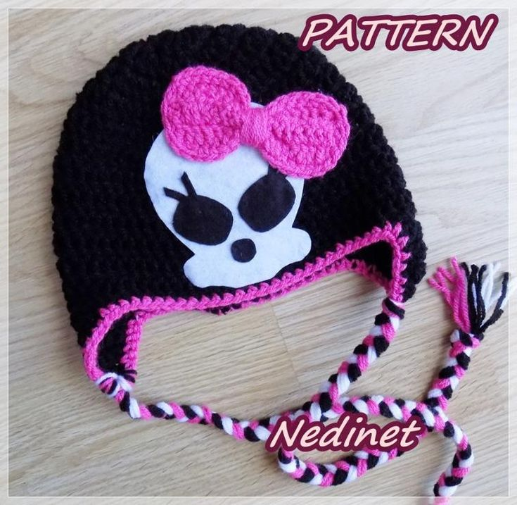Monster High skull crochet hat PATTERN pdf | Craftsy