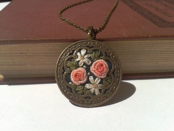 Victoria's garden hand embroidery jewelry necklace by ConeBomBom, $25.00