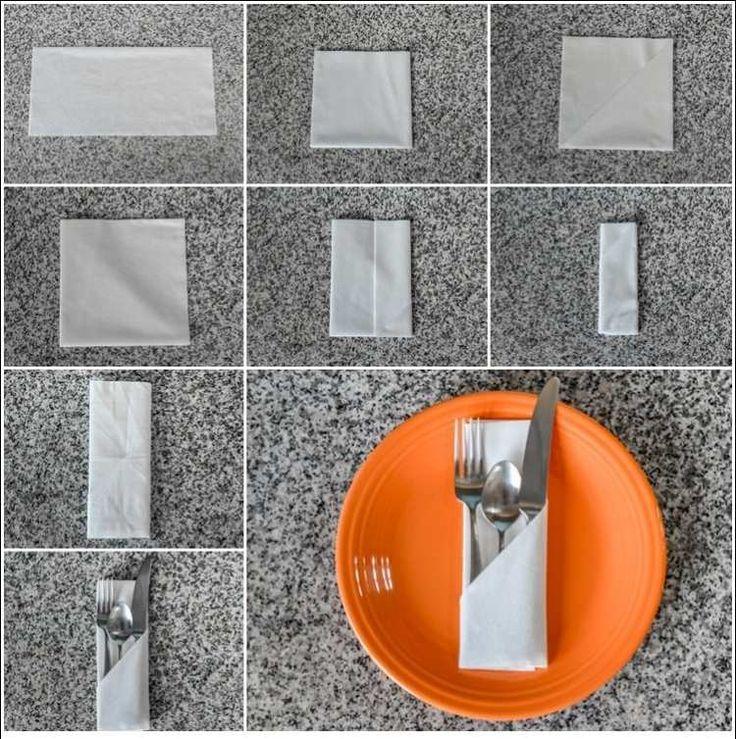 einfache Bestecktasche aus Papierserviette - Bildanleitung