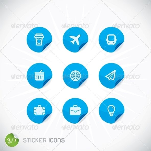 Sticker Icons  #GraphicRiver         Sticker Icons With Sticker     Created: 3November13 GraphicsFilesIncluded: JPGImage #VectorEPS Layered: No MinimumAdobeCSVersion: CS Tags: airplane #app #baggage #bar #basket #bulb #bus #cafe #design #drink #elements #event #frame #icon #illustration #lamp #layout #letter #location #off #page #recycle #search #symbol #template #transport #ui #vector #web #website