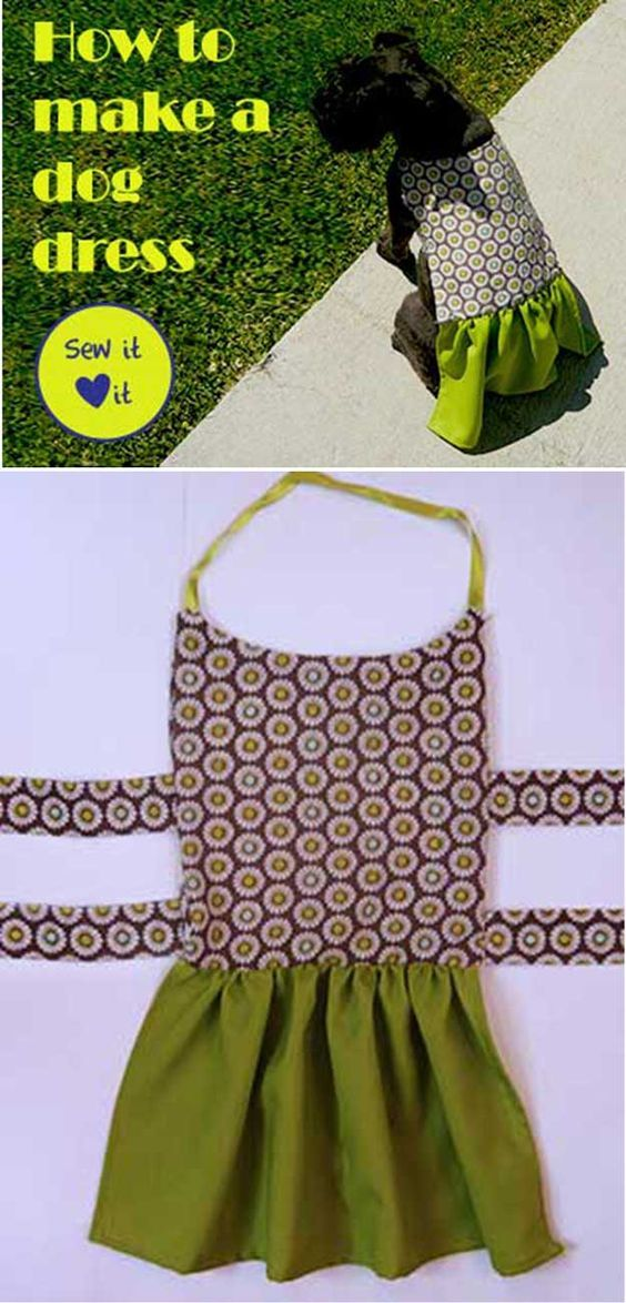 DIY Dog Dress - 12 DIY Dog Clothes and Coats   How To Make Cute Outfits For Your Furry Pet by DIY Ready at http://diyready.com/diy-dog-clothes-and-coats/