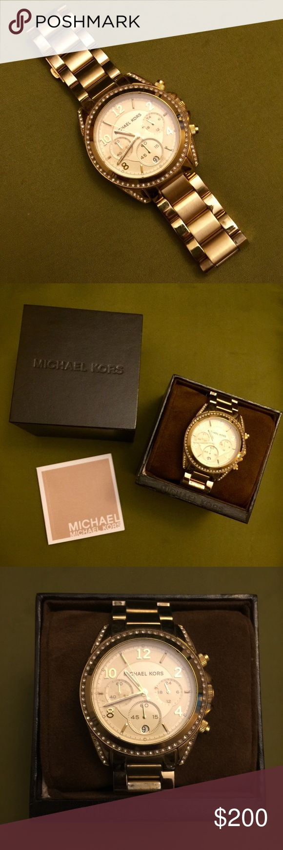 """Michael Kors 'Blair' Gold-Tone Chronograph Watch Michael Kors MK5166 Blair Gold-Tone Stainless Steel Chronograph Watch (about a little over 6.5"""" in circumference) Michael Kors Jewelry"""