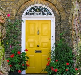 Yellow: Yellow Front Doors, Red Doors, The Doors, Front Doors Colors, Red Flower, House, Red Geraniums, Painting, Yellow Doors