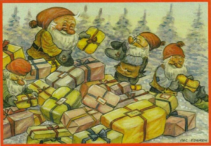 Julkort Jac Edgren 4 tomtar sorterar julklappar