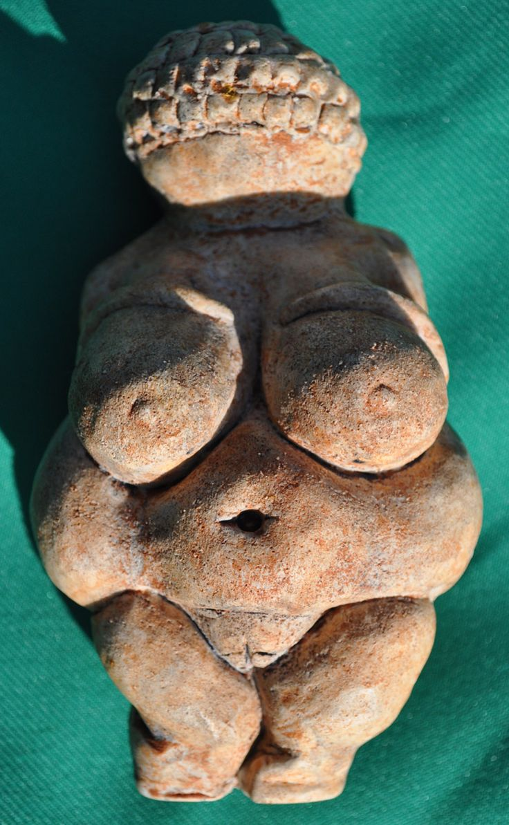 The Venus of Willendorf  Age: Around 25,000 BCE  Material: Oolitic Limestone  Found: Willendorf (Austria) in 1908  Present Location: Naturhistorisches Museum in Vienna (Austria)  Length: 10.6cm  Width: 5.7cm  Depth: 4.5cm