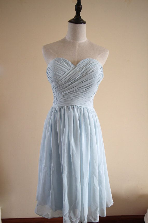 Light blue color option and sweetheart dress style.