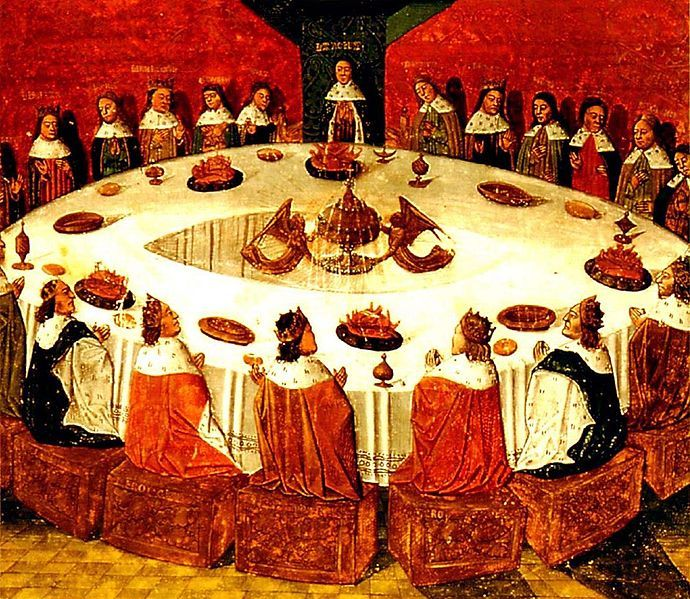 Historians Find King Arthur's Round Table; Could Seat 1,000 Knights ... The appearance of the Holy Grail at Pentecost (Picture @ Nightbringer.se)