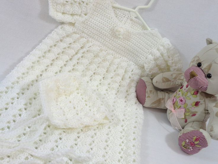 White Christening Gown, Infant Baptism Dress, Crochet Gown for Babies, Dedication Long Dress, Bonnet Included, MADE TO ORDER, Heirloom by crochetedbycharlene on Etsy