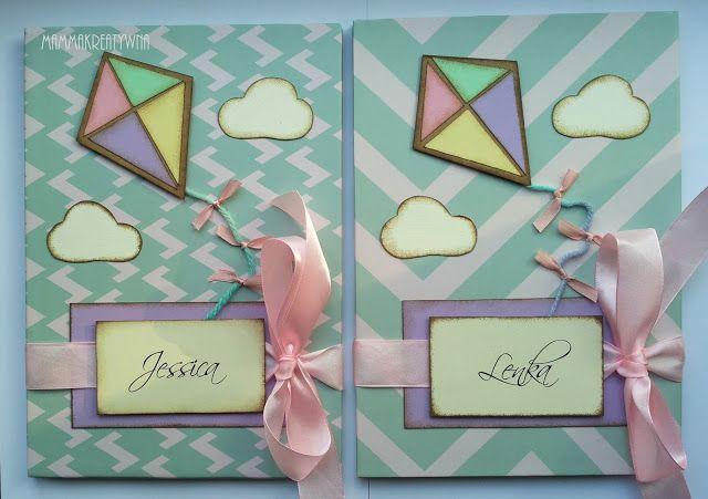 Ręcznie robione albumy do zdjęć dla dzieci w pastelowych barwach. Handmade photoalbums with kite.