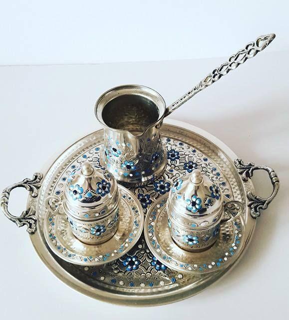 Turkish Coffee Serving Set-Coffee Porcelain Cup&Saucer,Coffee Maker Pot #Handmade #Turkish