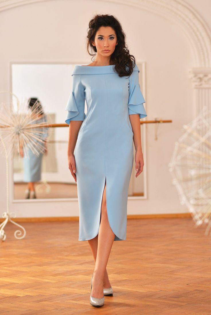 Pavo Dress (Serenity Blue Ruffle Sleeve Dress)