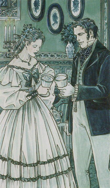 Two of Cups (Teacups) - The Tarot of Jane Austen by Diane Wilkes, Lola Airaghi