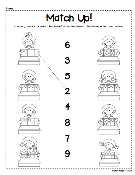 Great first practice for kindergarten students... match the tens frame to the correct number. (Sample page from the tens frame packet) $