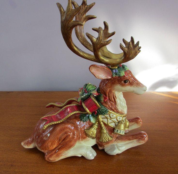 Large Fitz Floyd Classics Kneeling Christmas Winter Deer ...
