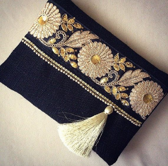 Black Ethnic Clutch, Black Jute Handmade Handbag, Gold Colour Ribbon, Mothers…