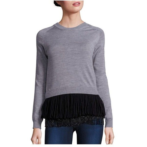 NO. 21 Two-Piece Wool Sweater ($290) ❤ liked on Polyvore featuring tops, sweaters, grigio mel, knitwear, embellished peplum top, peplum sweater, embellished top, long-sleeve peplum top and long tops