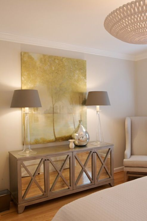 Heather Garrett Design: Beautiful bedroom with gray walls paint color Oly Studio Pipa Bowl Chandelier, Oly ...