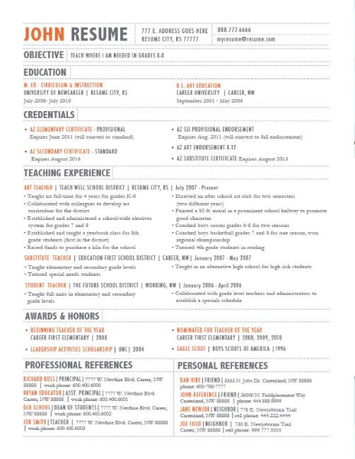 the layout of a resume