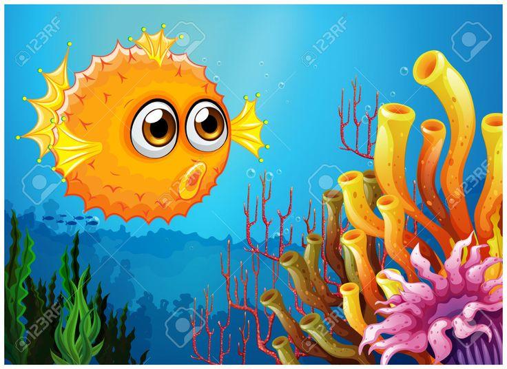 Ilustración de un pez globo, cerca de los arrecifes de coral. Ilustraciones Vectoriales. Libre De Derechos.
