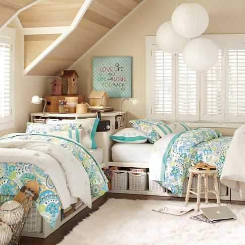 Twin Bed Ideas - Corner Units  Ideas for the boys rooms - different colors of course - lift beds instead of basket storage (see other posts on this board for lift beds)