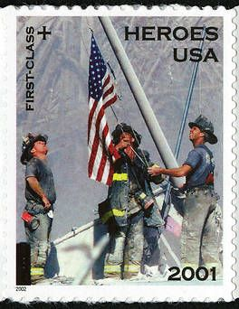 This stamp depicts three firefighters at Ground Zero after the attack of September 11, 2001. The stamp paid the 34-cent postage rate for first class mail. The additional 11-cents went to a fund to provide financial assistance to families of emergency relief personnel killed or permanently disabled as a result of the September 11th attacks.