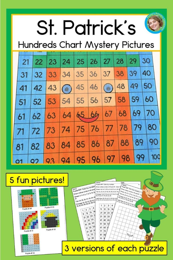 Engage Your Kindergarten And First Grade Students In Math Learning This Spring With St Patrick S Day Hun Mystery Pictures Hundreds Chart Math Mystery Picture [ 1104 x 736 Pixel ]