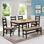 Jay 6-Piece Black Wash Solid Wood Dining Set with 1-Bench, 4-Chairs and 1-Table, Black Wash/Matte